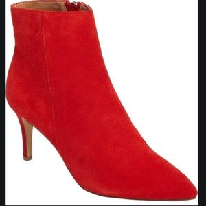 Red Suede Booties, like new